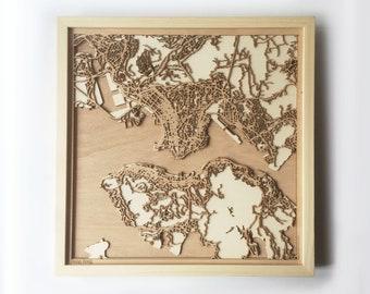 Hong Kong Wooden Map - Pinewood Laser Cut Streets City Maps 3d Framed Minimal Minimalist Wall Art Wood - Birthday Christmas Wedding Gift