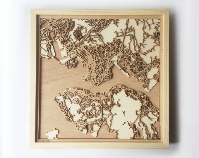 Hong Kong Wooden Map - Pinewood Laser Cut Streets City Maps 3d Framed Minimal Minimalist Wall Art Wood - Birthday Christmas Wedding Gift
