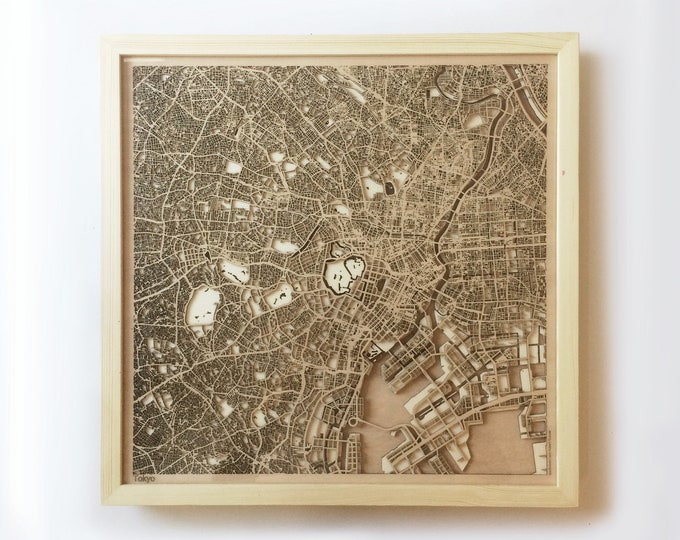 Tokyo Wooden Map - Pinewood Laser Cut Wood Streets City Maps 3d Framed Minimal Minimalist Wall Art - Birthday Christmas Wedding Gift