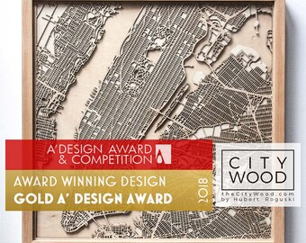 Custom Personalized Wooden Map - Laser Cut Wood Streets City Maps 3d Framed Minimal Minimalist Wall Art - Birthday Christmas Wedding Gift