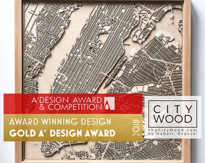 Custom Personalized Wooden Map - Laser Cut Wood Streets City Maps 3d Framed Minimal Minimalist Wall Art - Birthday Christmas Wedding Gift