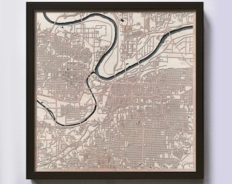 Kansas City Wood Map - 5th Anniversary Gift - Custom Wooden Map Laser Cut Framed Maps Wall Art - Wedding Engagement Gift for Couple