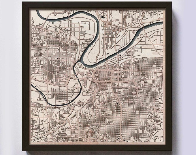 Kansas City Wood Map - Laser Cut Custom Map Streets City 3d Framed Wooden Maps Travel Wall Art - Birthday Christmas Gift Wedding Gifts