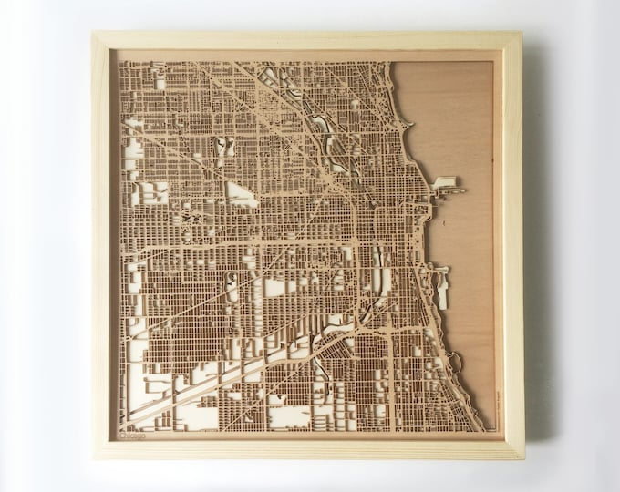 Chicago Wooden Map - Pinewood Laser Cut Wood Streets City Maps 3d Framed Minimal Minimalist Wall Art -Birthday Christmas Wedding Gift