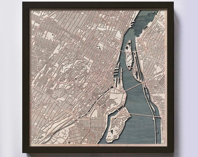 Montreal Wood Map - Laser Cut Custom Map Streets City 3d Framed Wooden Maps Travel Wall Art - Birthday Christmas Gift Wedding Gifts