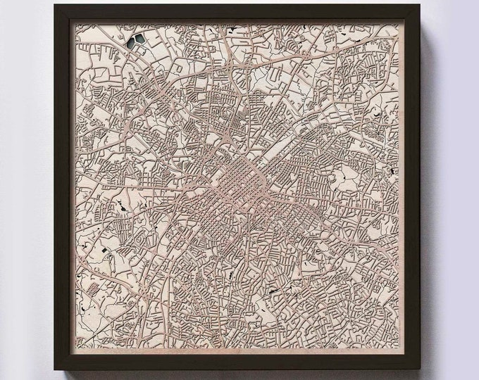 Charlotte Wood Map - 5th Anniversary Gift - Custom Wooden Map Laser Cut Framed Maps Wall Art - Wedding Engagement Gift for Couple