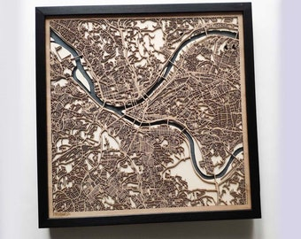 Pittsburgh Wood Map - 5th Anniversary Gift - Custom Wooden Map Laser Cut Framed Maps Wall Art - Wedding Engagement Gift for Couple