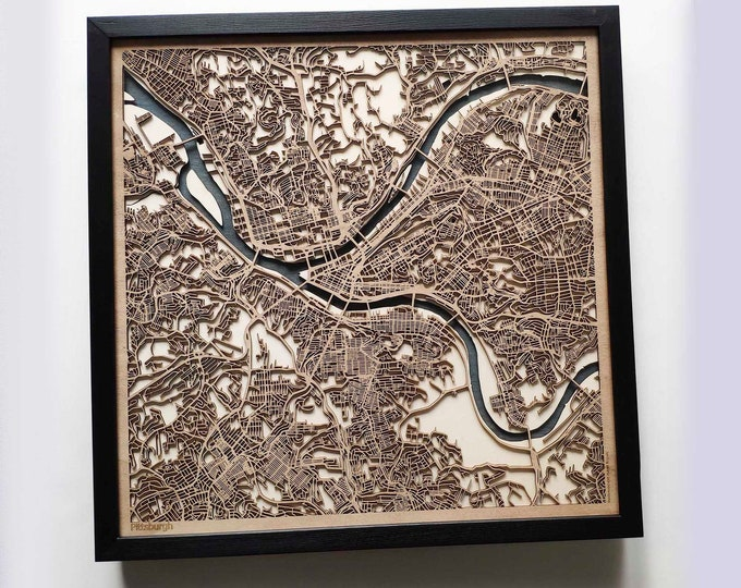 Pittsburgh Wood Map - Laser Cut Custom Map Streets City 3d Framed Wooden Maps Travel Wall Art - Birthday Christmas Gift Wedding Gifts