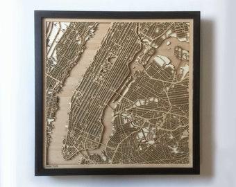 New York Wooden Map - Black Laser Cut Streets City Maps 3d Framed Minimal Minimalist Wall Art Wood - Birthday Christmas Wedding Gift