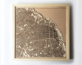 Buenos Aires Wooden Map - Laser Cut Wood Streets City Maps 3d Framed Minimal Minimalist Wall Art Birthday Anniversary Christmas Wedding Gift