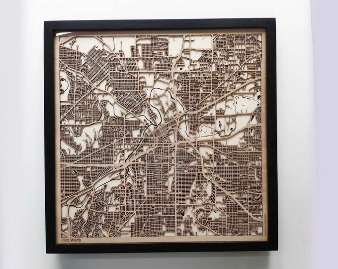 Fort Worth Wood Map - 5th Anniversary Gift - Custom Wooden Map Laser Cut Framed Maps Wall Art - Wedding Engagement Gift for Couple
