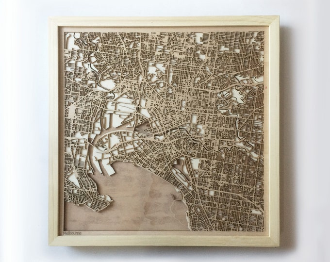 Melbourne Wooden Map - Pinewood Laser Cut Wood Streets City Maps 3d Framed Minimal Minimalist Wall Art -Birthday Christmas Wedding Gift