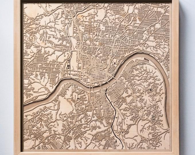 Cincinnati Wooden Map -Laser Cut Wood Streets City Maps 3d Framed Minimal Minimalist Wall Art - Birthday Anniversary Christmas Wedding Gift
