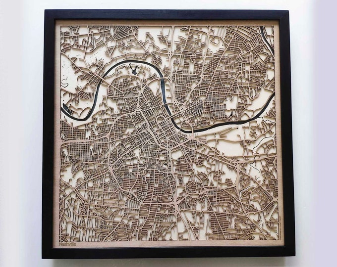 Nashville Wood Map - 5th Anniversary Gift - Custom Wooden Map Laser Cut Framed Maps Wall Art - Wedding Engagement Gift for Couple