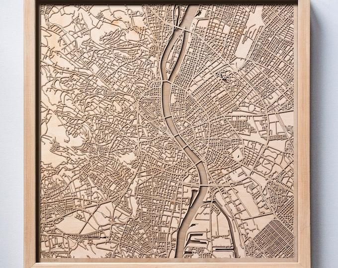 Budapest Wooden Map - Pinewood Laser Cut Streets City Maps 3d Framed Minimal Minimalist Wall Art Wood - Birthday Christmas Wedding Gift