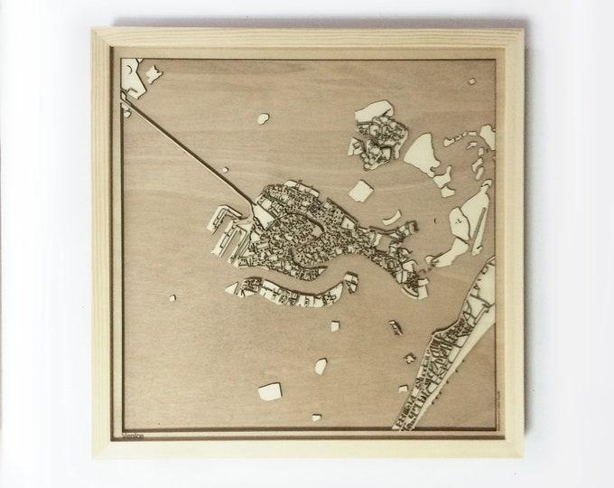 Venice Wooden Map -Laser Cut Wood Streets City Maps 3d Framed Minimal Minimalist Wall Art - Birthday Anniversary Christmas Wedding Gift