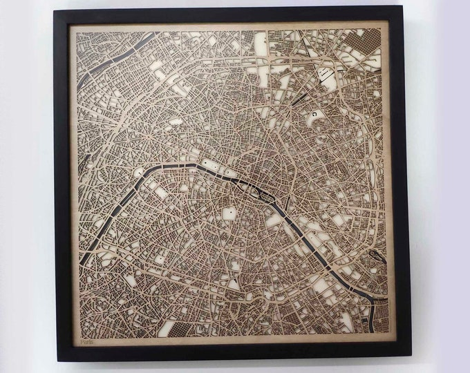 Paris Wood Map - 5th Anniversary Gift - Custom Wooden Map Laser Cut Framed Maps Wall Art - Wedding Engagement Gift for Couple
