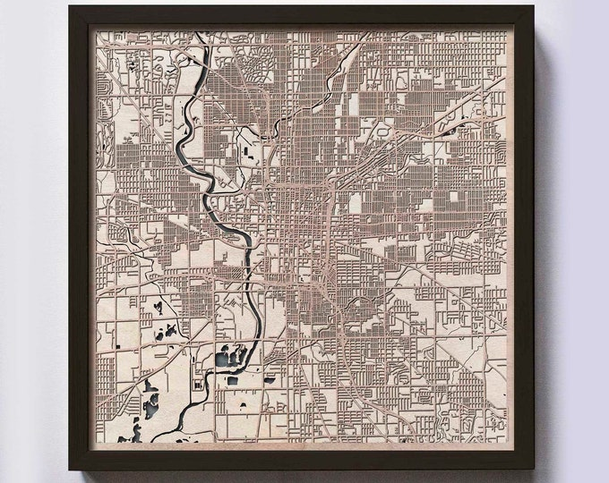 Indianapolis Wood Map - 5th Anniversary Gift - Custom Wooden Map Laser Cut Framed Maps Wall Art - Wedding Engagement Gift for Couple