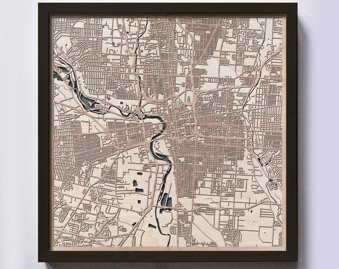 Columbus Wood Map - 5th Anniversary Gift - Custom Wooden Map Laser Cut Framed Maps Wall Art - Wedding Engagement Gift for Couple