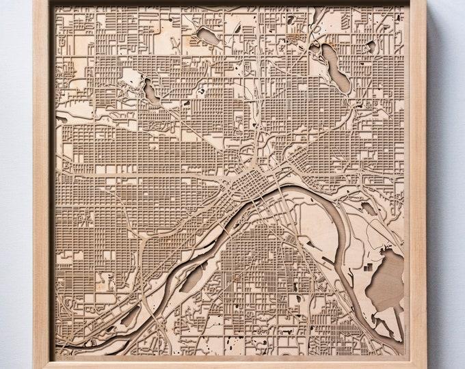 St Paul Wooden Map -Laser Cut Wood Streets City Maps 3d Framed Minimal Minimalist Wall Art - Birthday Anniversary Christmas Wedding Gift