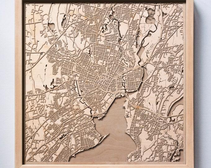 New Haven Wooden Map -Laser Cut Wood Streets City Maps 3d Framed Minimal Minimalist Wall Art - Birthday Anniversary Christmas Wedding Gift