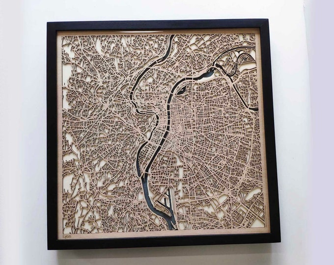 Lyon Wood Map - 5th Anniversary Gift - Custom Wooden Map Laser Cut Framed Maps Wall Art - Wedding Engagement Gift for Couple