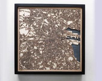 Dublin Wood Map - 5th Anniversary Gift - Custom Wooden Map Laser Cut Framed Maps Wall Art - Wedding Engagement Gift for Couple