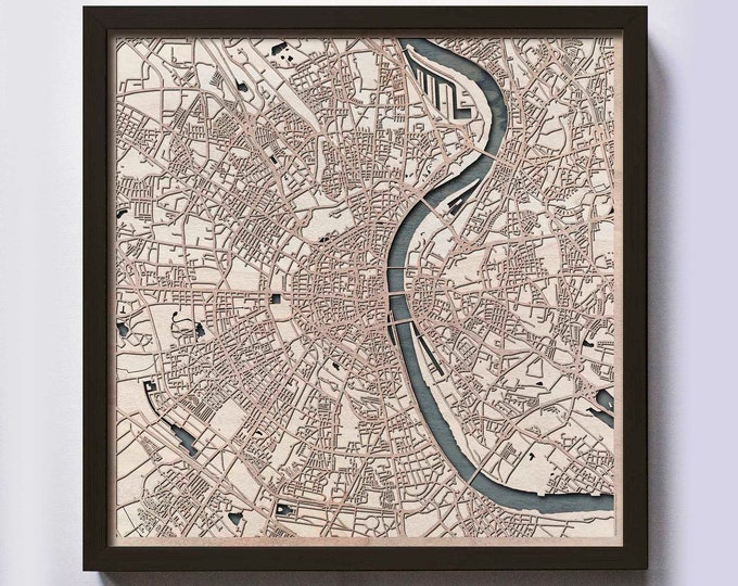 Cologne Wood Map - 5th Anniversary Gift - Custom Wooden Map Laser Cut Framed Maps Wall Art - Wedding Engagement Gift for Couple