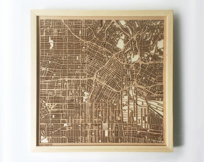 Los Angeles Wooden Map - Pinewood Laser Cut Wood Streets City Maps 3d Framed Minimal Minimalist Wall Art -Birthday Christmas Wedding Gift