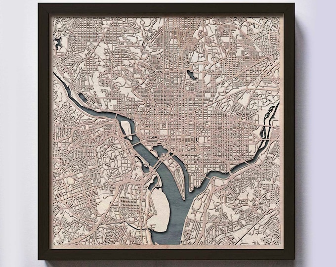 Washington Wood Map - 5th Anniversary Gift - Custom Wooden Map Laser Cut Framed Maps Wall Art - Wedding Engagement Gift for Couple