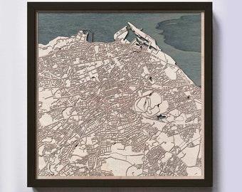 Edinburgh Wood Map - 5th Anniversary Gift - Custom Wooden Map Laser Cut Framed Maps Wall Art - Wedding Engagement Gift for Couple