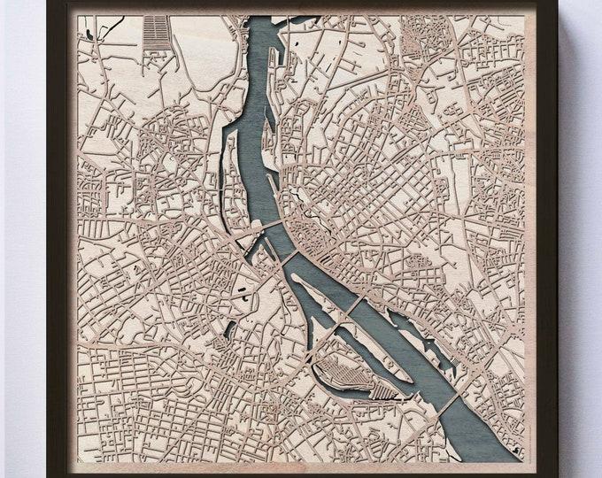 Riga Wooden Map - Pinewood Laser Cut Streets City Maps 3d Framed Minimal Minimalist Wall Art Wood - Birthday Christmas Wedding Gift