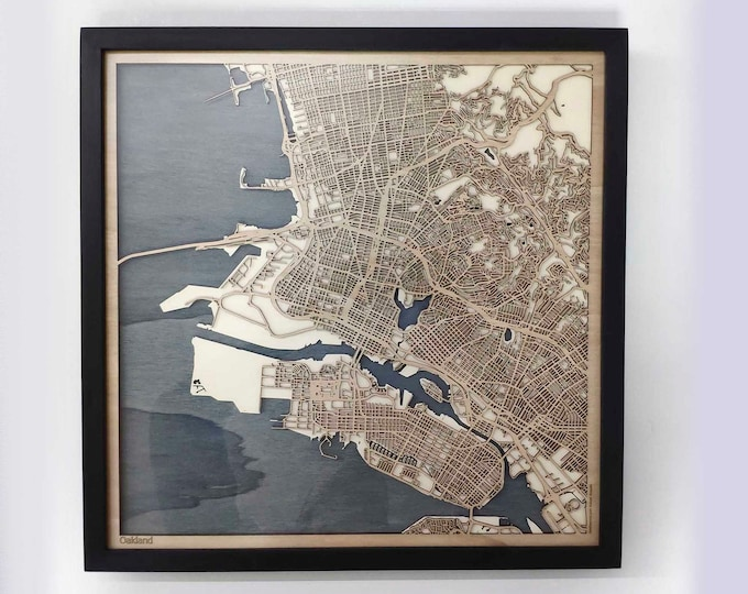 Oakland Wood Map - 5th Anniversary Gift - Custom Wooden Map Laser Cut Framed Maps Wall Art - Wedding Engagement Gift for Couple