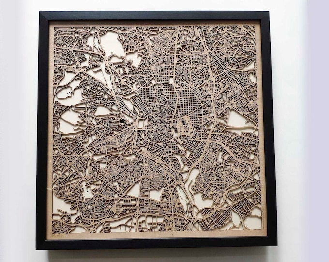 Madrid Wood Map - 5th Anniversary Gift - Custom Wooden Map Laser Cut Framed Maps Wall Art - Wedding Engagement Gift for Couple