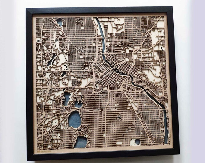 Minneapolis Wood Map - 5th Anniversary Gift - Custom Wooden Map Laser Cut Framed Maps Wall Art - Wedding Engagement Gift for Couple