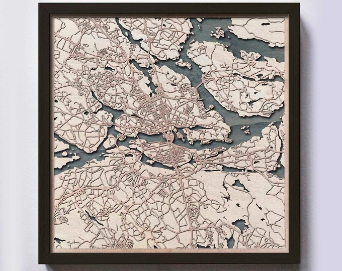 Stockholm Wood Map - 5th Anniversary Gift - Custom Wooden Map Laser Cut Framed Maps Wall Art - Wedding Engagement Gift for Couple