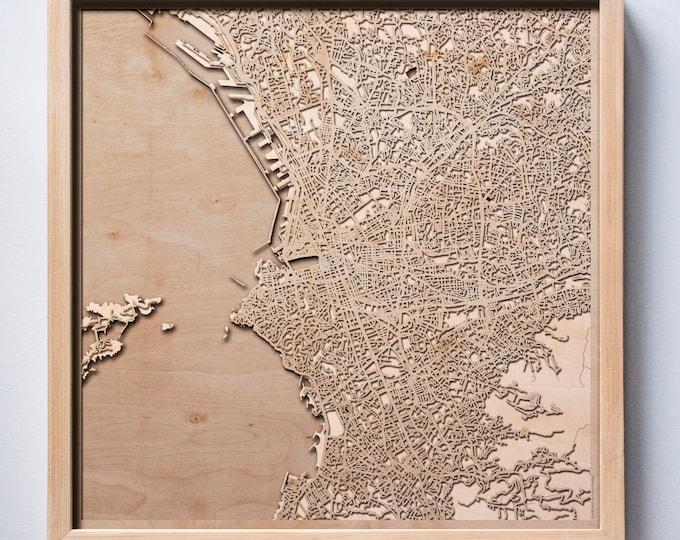 Marseille Wooden Map - Laser Cut Wood Streets City Maps 3d Framed Minimal Minimalist Wall Art - Birthday Anniversary Christmas Wedding Gift