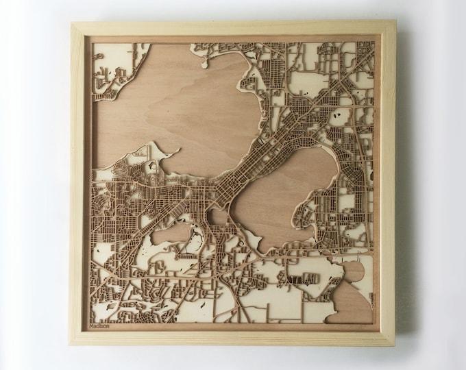 Madison Wooden Map -Laser Cut Wood Streets City Maps 3d Framed Minimal Minimalist Wall Art - Birthday Anniversary Christmas Wedding Gift