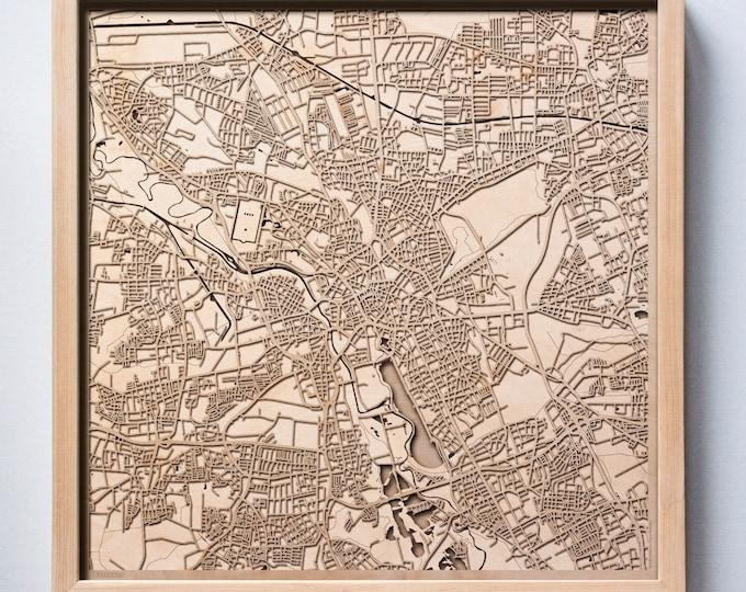 Hanover Wooden Map -Laser Cut Wood Streets City Maps 3d Framed Minimal Minimalist Wall Art - Birthday Anniversary Christmas Wedding Gift