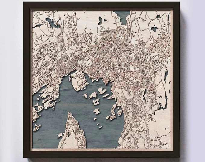 Oslo Wood Map - 5th Anniversary Gift - Custom Wooden Map Laser Cut Framed Maps Wall Art - Wedding Engagement Gift for Couple