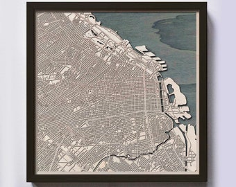 Buenos Aires Wood Map - 5th Anniversary Gift - Custom Wooden Map Laser Cut Framed Maps Wall Art - Wedding Engagement Gift for Couple