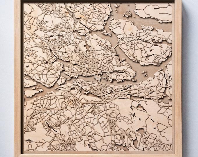 Stockholm Wooden Map -Laser Cut Wood Streets City Maps 3d Framed Minimal Minimalist Wall Art - Birthday Anniversary Christmas Wedding Gift