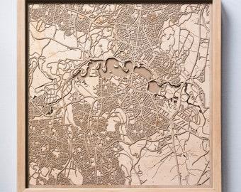 Canberra Wooden Map - Pinewood Laser Cut Streets City Maps 3d Framed Minimal Minimalist Wall Art Wood - Birthday Christmas Wedding Gift