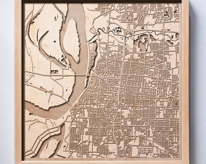 Memphis Wooden Map - Pinewood Laser Cut Streets City Maps 3d Framed Minimal Minimalist Wall Art Wood - Birthday Christmas Wedding Gift
