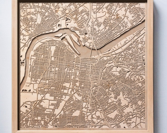 Louisville Wooden Map -Laser Cut Wood Streets City Maps 3d Framed Minimal Minimalist Wall Art - Birthday Anniversary Christmas Wedding Gift