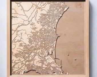 Wollongong Wooden Map - Pinewood Laser Cut Streets City Maps 3d Framed Minimal Minimalist Wall Art Wood - Birthday Christmas Wedding Gift