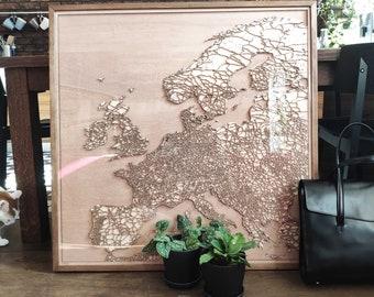 Europe Wooden Map - Pinewood Laser Cut Streets City Maps 3d Framed Minimal Minimalist Wall Art Wood - Birthday Christmas Wedding Gift