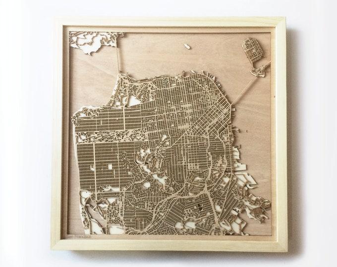 San Francisco Wooden Map - Pinewood Laser Cut Streets City Maps 3d Framed Minimal Minimalist Wall Art Wood - Birthday Christmas Wedding Gift