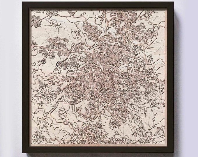 Jerusalem Wood Map - 5th Anniversary Gift - Custom Wooden Map Laser Cut Framed Maps Wall Art - Wedding Engagement Gift for Couple