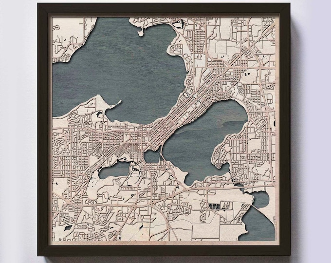 Madison Wood Map - 5th Anniversary Gift - Custom Wooden Map Laser Cut Framed Maps Wall Art - Wedding Engagement Gift for Couple